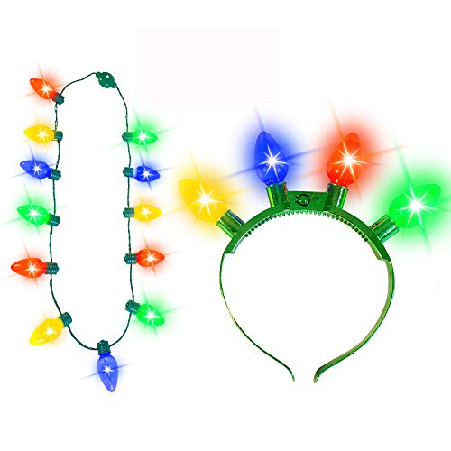 JOYIN Christmas 2 Pack Christmas Necklace with 12 Bulbs and Headband Party Accessories Supplies