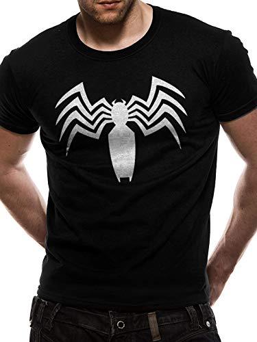 Marvel officiële mannen Unisex Venom wit logo op zwart T-shirt