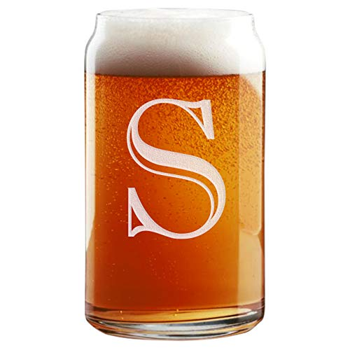 Etched Monogram 16oz Can Glass for Soda or Beer (Letter S)