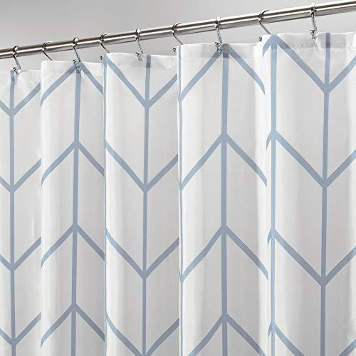 MDESIGN Duschvorhang – wasserabweisender Spritzschutz mit attraktivem Muster – pflegeleichter Badewannenvorhang – blau/weiß