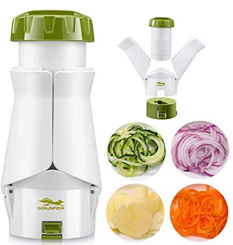 GOLDFOX Spiralschneider 4 in 1 Gemüse Spiralschneider, Gemüsehobel für Kartoffel, Gurke, Kürbis, Zucchini, Zwiebel, Gemüsespaghetti Grün