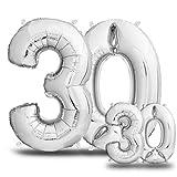envami Globos de Cumpleãnos 30 Plateado I 101 CM + 40 CM Globos 30 Años I Globos Numero 30 I Decoracion 30 Cumpleaños Mujer Hombre I Globos Numeros Gigantes para Fiestas I Vuelan con Helio
