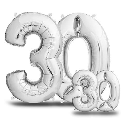 envami Palloncini Compleanno 30 Anni Argento 101 CM + 40 CM I Palloncino Numero 30 I Numeri Gonfiabili Compleanno I Decorazioni Compleanno I Palloncino 30 Anni Compleanno I Vola con l'Elio