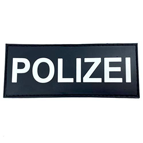Polizei Police Deutsche Blaue Linie Cosplay Airsoft PVC Klett Emblem Abzeichen Patch (Schwarz)