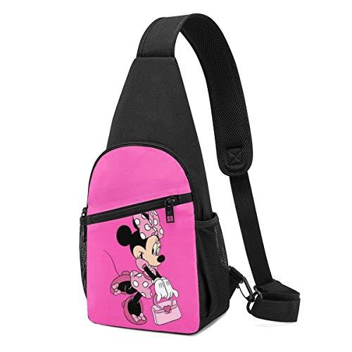 WILHJGH Mochila Sling Casual Rosa Minnie Mouse Crossbody Daypack Bolso De Hombro Bolso De Pecho Mochila
