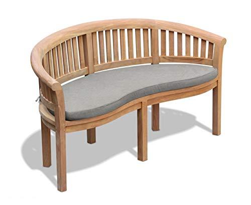 Jati Wimbledon Teak Garden Banana Bench with Cushion - 3-Seater, Delivered Ready Assembled (Grey)