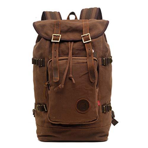 Drawstring Back Bag Men's Women 17 Inch Large Capacity Canvas Fashion Laptop Travel Rucksack Coffee