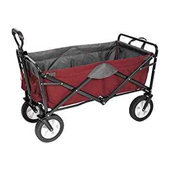 MacSports Classic Collapsible Folding Outdoor Utility Wagon | Heavy Duty Wheelbarrow Cart w/Wheels for Groceries Sports Equipment Gardening Camping Tailgating | Two-Tone  Wine/Gray
