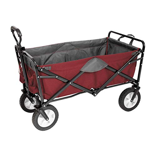 MacSports Classic Collapsible Folding Outdoor Utility Wagon | Heavy Duty Wheelbarrow Cart w/Wheels for Groceries, Sports Equipment, Gardening, Camping, Tailgating | Two-Tone (Wine/Gray)