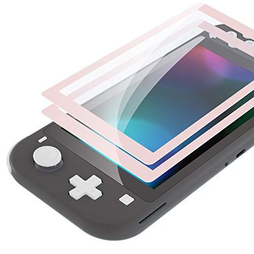eXtremeRate Panzerglas für Nintendo Switch Lite,Schutzfolie Displayschutzfolie Panzerglas Folie für Nintendo Switch Lite(2 Stück)[Kratzfest,Anti-Fingerabdruck,Bruchsicher,Blasenfrei]-Sakura Pink