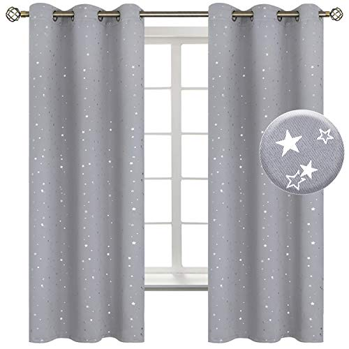 BGment Light Grey Star Blackout Curtains for Kid's Bedroom - Grommet Thermal Insulated Room Darkening Printed Curtains for Living Room, Set of 2 Panels (42 x 63 Inch, Light Grey)