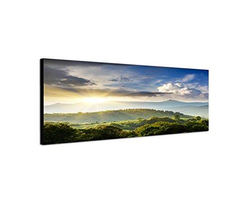 Quadro stampa su tela come Panorama in 150x 50cm Ucraina montagne foresta al tramonto nubi