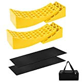 2-Pack Camper Leveler Kit- Heavy Duty RV Levelers RV Leveling Blocks Includes 2 Curved Levelers 2 Wheel Chocks 2 Anti-Slip Rubber Grip Mats for RV Camper Travel Trailer Motorhome Up to 30,000 lbs