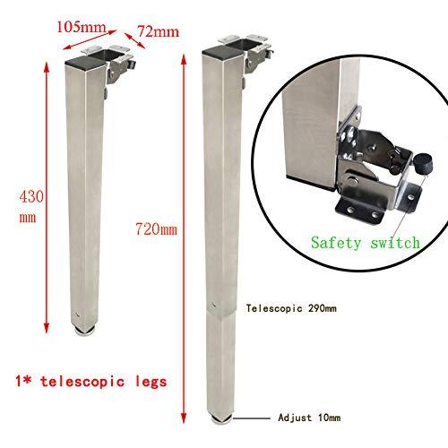 EXUVIATE Juego de Patas Plegable Extensibles de Mesa Muebles de Mesa de Metal piernas Patas pie Soporte Mesa Regulables 720-430mm 1pcs