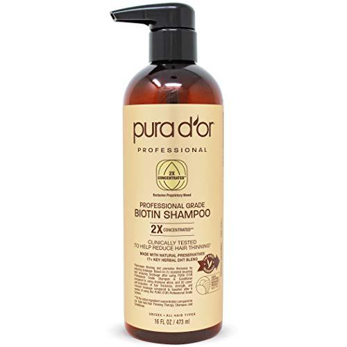 PURA D'OR Professional Anti-Haarausdünnungs-Biotin-Shampoo (473 ml) mit 2X konzentrierten Wirkstoffen - sulfatfrei, natürliche Inhaltsstoffe - klinisch getestet, Männer und Frauen