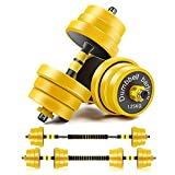 CDCASA Weight Dumbbells Set, Adjustable Weight to 66 Lbs, Free Barbell Set for Men and Women Home Fitness Weight Set Gym Workout Exercise Training with Connecting Rod