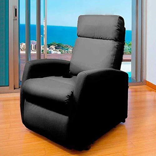 Cecotec Sillón Relax de Masaje Compact, Función Calor, 5 Programas, 3 Intensidades, 8 Motores, Mando de Control, Bolsillo portaobjetos, Polipiel, Negro
