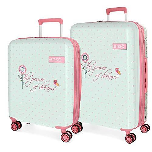 Enso Owls Juego de maletas Multicolor 55/70 cms Rígida ABS Cierre TSA 119L 4 Ruedas dobles Extensible Equipaje de Mano