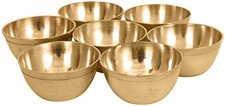 diollo Set of 7 Brass Yoga Meditation Altar Tibetan Buddhist Supplies Offering Bowls product image