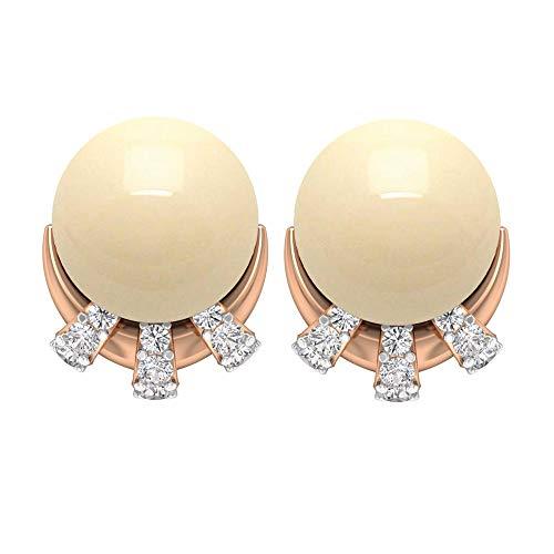 Pendientes de tuerca de perlas cultivadas japonesas de 5,15 quilates con detalles de diamantes, aretes de oro mínimos, aretes de rosca trasera marfil