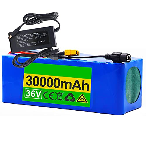 FREEDOH 36V 30Ah E-bike lithium-Ion Battery Pack Electric Bicycle Lithium Battery Built-In BMS Board Suitable for Kart Power Tools Airplane Model Electric Scooter (With Charger)