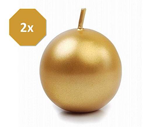 Feste Feiern Weihnachtsdeko I 2 Teile 8cm Kugelkerzen Deko-Kerzen Gold metallic I Adventskranz Gesteck Weihnachten