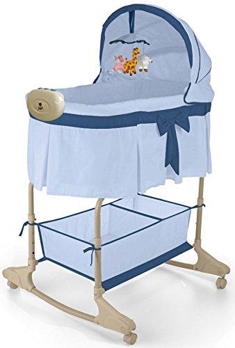 Best For Kids Wiege Stubenbett 4 in 1 Schaukelwiege Babybett mit Melodie, Vibration, Licht, Nachtlampe und Schaukel in zwei Farben zur Auswahl. PRIMA (Blau - Easy)