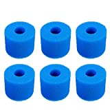 GTVICKY Type S1 Filter Cartridge Sponge Compatible with Intex Pure Spa Hot Tub Filter, Reusable Washable Replacement S1 Filter Pump Cartridge, 6Pack