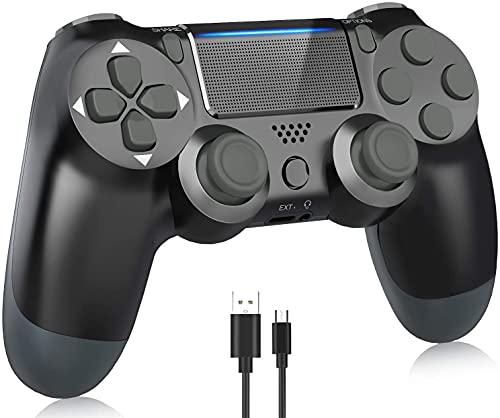 Controller per PS4, controller joystick gamepad wireless, con doppia vibrazione/jack per cuffie/pannello touch/controllo del movimento a sei assi, per PS4 / Pro/Slim / PS3 / PC