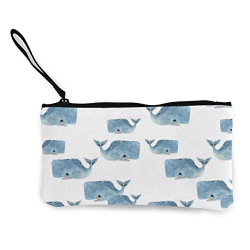 SDFGJ Whale Pod in Blue Women and Girls Cute Fashion Canvas Coin Purse Change Coin Bag Zipper Small Purse Wallets for Keychain Money Travel Pouches