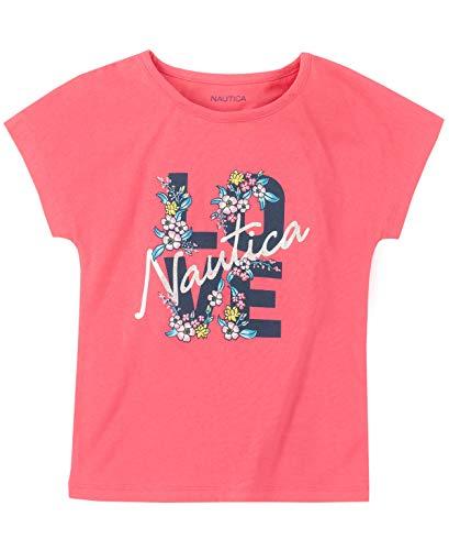 Nautica Big Girls' Short Sleeve Graphic Tee, Love Bright Pink, M8/10
