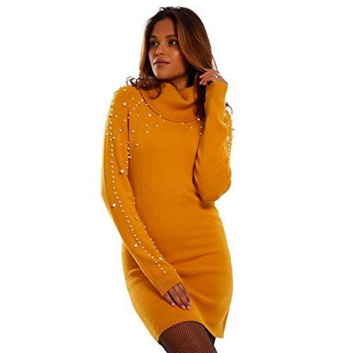 YC Fashion & Style Damen Strickkleid mit Perlen Long Pullover Herbst Winter, Farbe:Senf, Größe:One Size