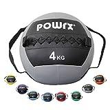 POWRX Wall Ball con Asas Laterales 1-8 kg - Ideal para Ejercicios de Entrenamiento Funcional (4 kg/Gris)