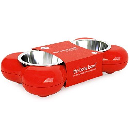 Mangeoir pour chiens en forme d'os - Rouge