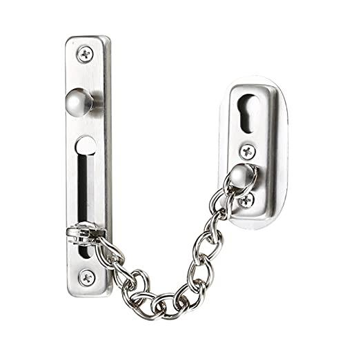 Cadena antirrobo,cadena de puerta de acero inoxidable 304,cerradura de cadena de puerta con tornillos,utilizada para puertas interiores y ventanas de hoteles familiares,plateado cromado cepillado