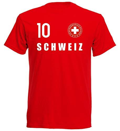Nation Maglietta svizzera con stemma FH 10 RO Colore: rosso M