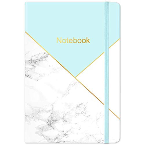 Taccuino A5, taccuino a righe 144 pagine, taccuino con copertina rigida con carta color crema, tasca interna, 21,5 x 14,5 cm - marmo blu
