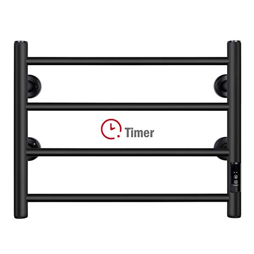 JSLOVE Towel Warmer 4 Bars with Built-in Timer Wall Mounted Electric Heated Towel Racks for Bathroom, Stainless Steel Hot Plug-in Bath Towel Heater, Matte Black