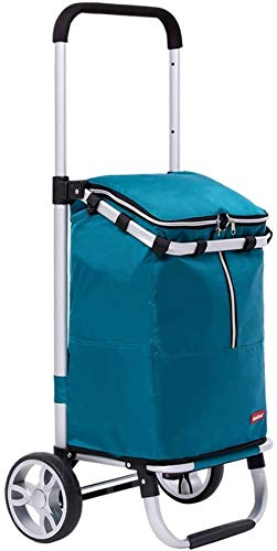 MissZZ Portable Shopping Cart Ultralight Portable Folding Aluminum Alloy 2 Wheel Hand Push Rod Travel Storage Bag, 97.5 * 45 * 38.5CM (Color : Red)