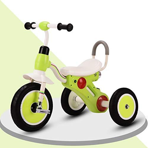 Triciclo Bebe Tricilo Bebe , 2-6 Años 3 En 1 Bicicleta Putter De Mano Rueda vacia de Titanio,Triciclo evolutivo con Musical,4 Colores (Color : Green)