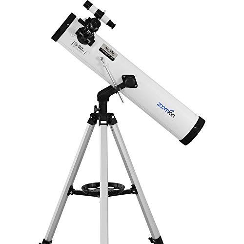 Zoomion Stardust 76/700 AZ - Telescopio Reflector astronómico con trípode, Montura, oculares para niños y Principiantes de la astronomía