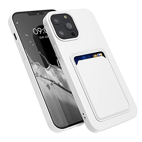 kwmobile Funda con Tarjetero Compatible con Apple iPhone 13 Pro MAX - Carcasa Protectora de TPU Suave - Blanco
