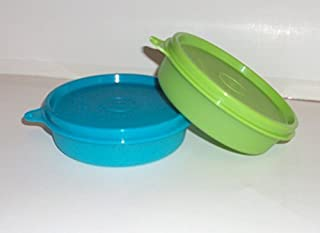 Tupperware Little Wonders Snack Bowls 6 Ounce Aqua Blue and Lime Green