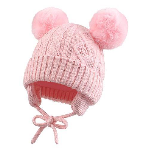 Pesaat Baby Mädchen Mütze Jungen Strickmütze Winter Hut Warme Wintermütze Doppelpompon für Baby [MEHRWEG](rosa, 6-24Monate)