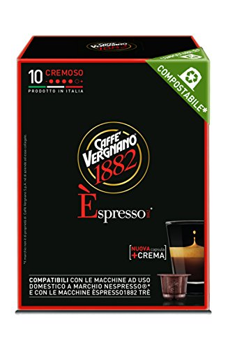 Caffe' Vergnano 1882 Capsule Espresso Cremoso Compatibili Nespresso, 10 x 5g