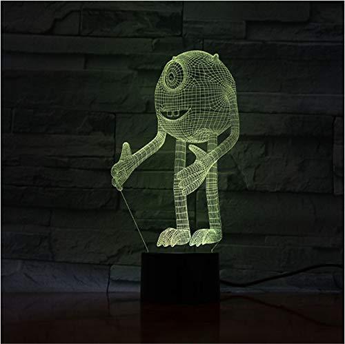 3d Led Optical Illusion Lamp Cartoon Night Monsters Inc Enfants Lumière Visuelle Lampe De Nuit Pour Le Chevet De Chambre À Coucher De Bébé Avec Changement De Couleur