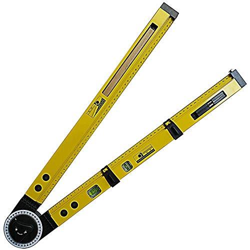 Multifunktions-Winkelmesser,Holzschreiber-Kompass-Anreißlehre,Aluminium-Neigungswinkelmesser,Hängendes Gemälde,Horizontales Positionierungswerkzeug,2-Tlg