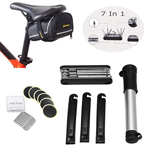 Fahrrad Reparatur Set OUTERDO, Fahrradflickzeug Multitool 7 in 1 Reparatur Set mit Satteltasche, Multifunktionswerkzeug für Fahrrad Reparatur