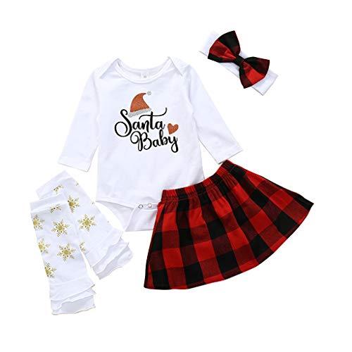 0-2 Años,SO-buts Recién Nacido Pequeño Bebé Niños Niñas Día De Navidad Carta Camisas Manga Larga Tops Mameluco Vestido Falda a Cuadros Conjunto De Trajes Diadema (Rojo,3-6 meses)