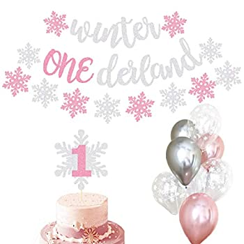 Winter Onederland Party Decorations Banner Snowflake Balloons First Birthday Party Supplies Decorations Winter 1st Cake Topper Themed Baby Girl photo props
